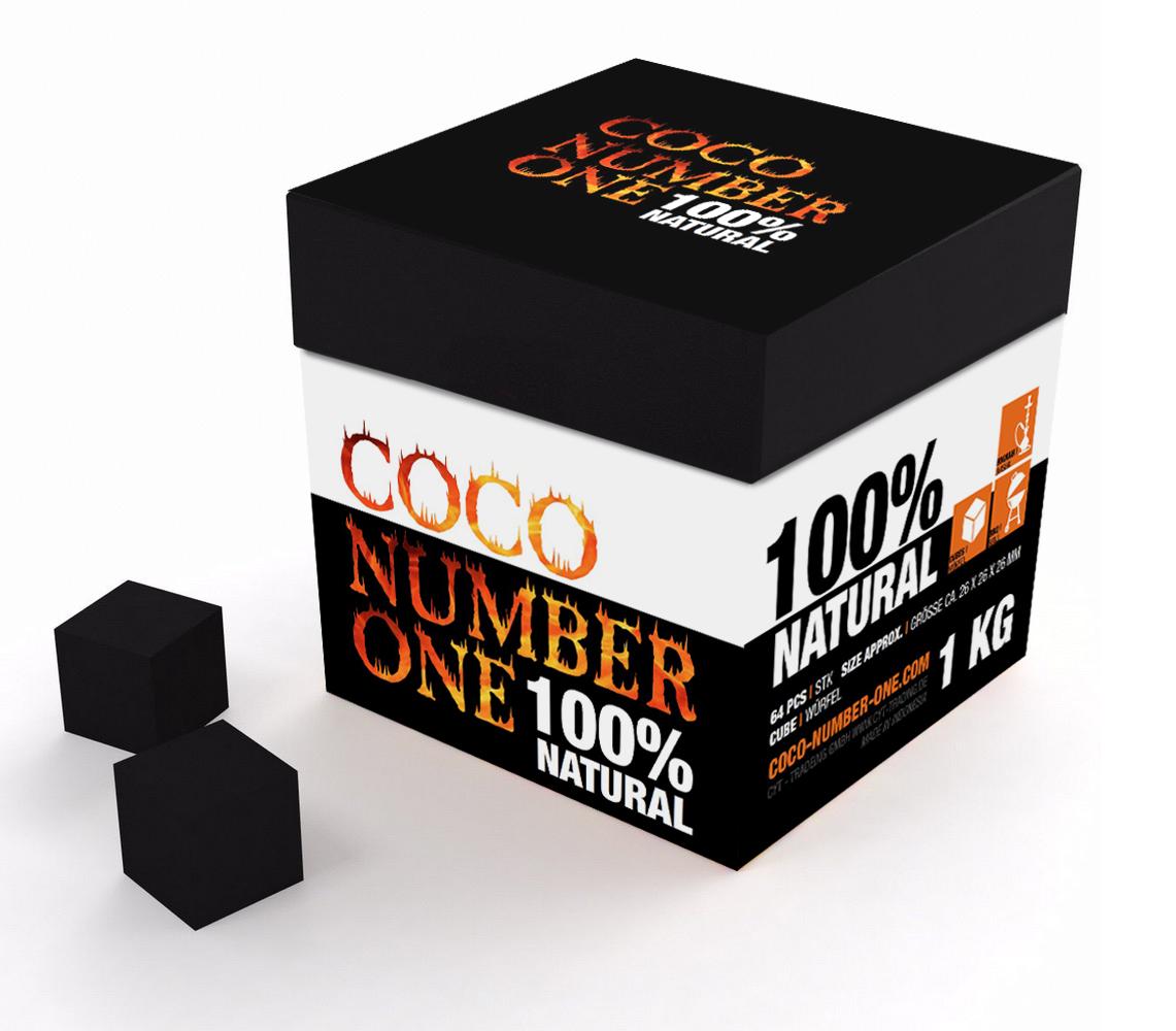 Bild zeigt Produktbild der Premium Shisha Kohle in der 1 KG Box