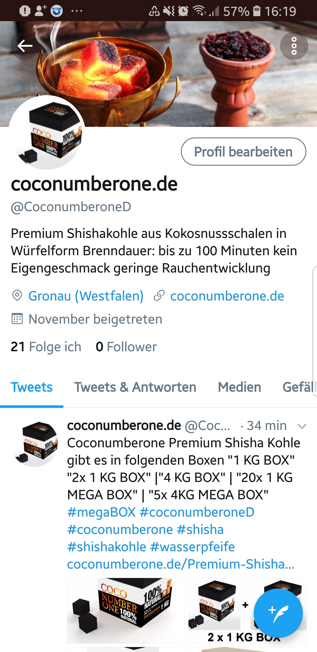 Bild zeigt Screenshot vom coconumberone.de Twitter Account